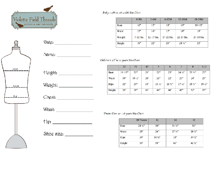 Violette Field Threads Size Chart and Measurement Guide