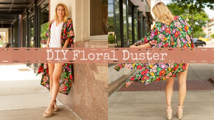 DIY Floral Duster. Warrior Kimono by Striped Swallow Designs. Fabric by Blackbird Fabrics.