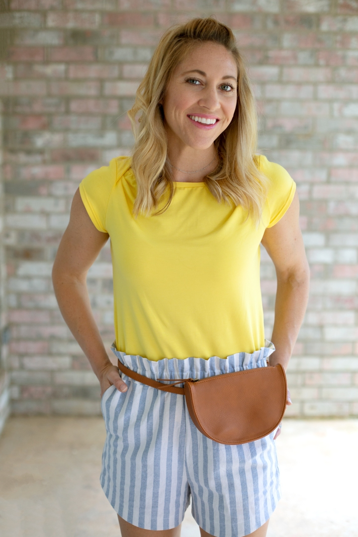 DIY Knot Tee & Paperbag Shorts: Romy Top & free Drawstring shorts