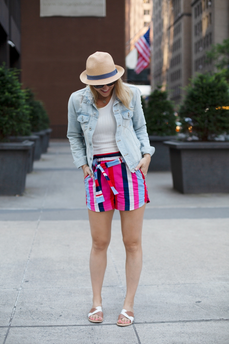 DIY Paperbag shorts handmade with Mood Fabrics
